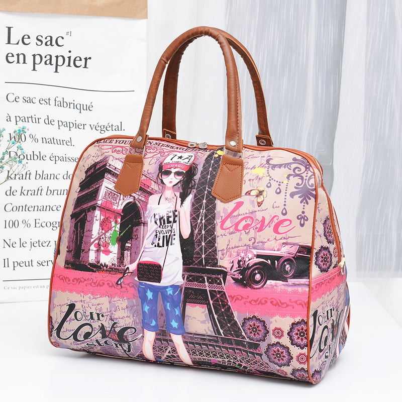 Korean version of the cartoon travel luggage bag hand bag handbag PU leather (4550187516013)