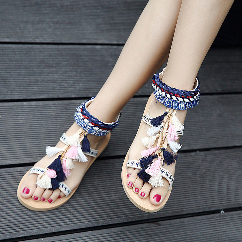 Embroidered sandals women's 2020 summer new vintage smoothie comfortable flat-bottomed