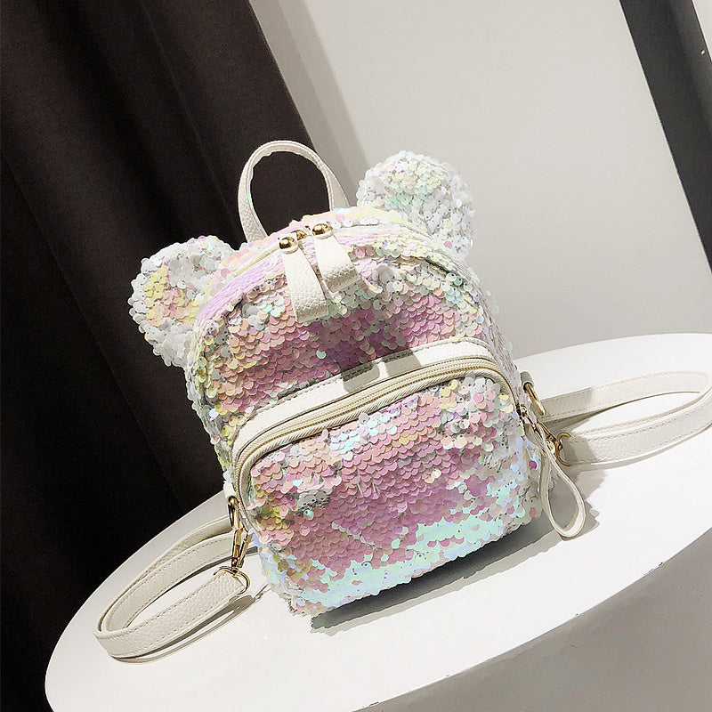 Small fresh shoulder bag sequins 2020 new Korean female wild cute little girl ear backpack schoolbag