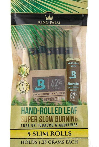 King Palm Slim Natural Pre-Rolled Cones w/ Boveda Pack (5-Pack) - Glasss Station