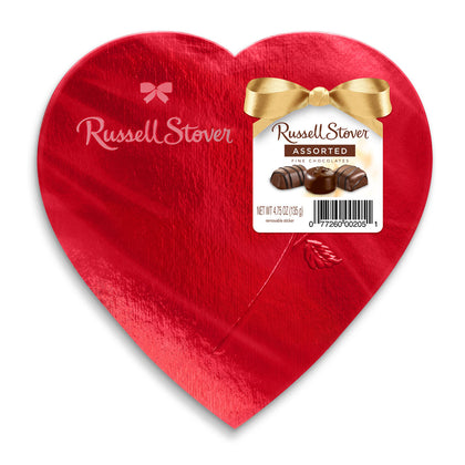 Russell Stover Valentine's Assorted Chocolates Red Foil Heart, 4.75 oz.