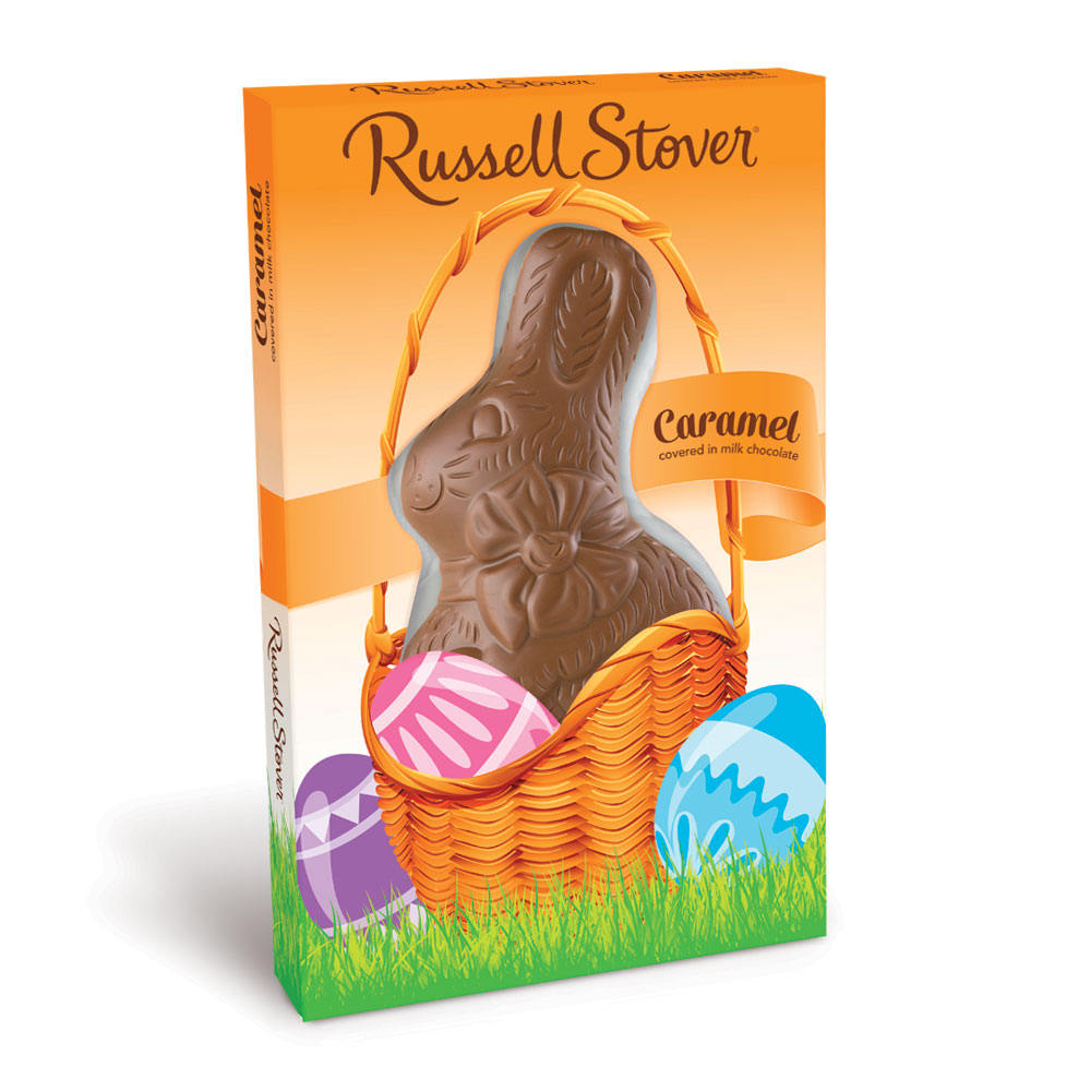 Russell Stover Milk Chocolate Caramel Flatback Rabbit, 3 oz