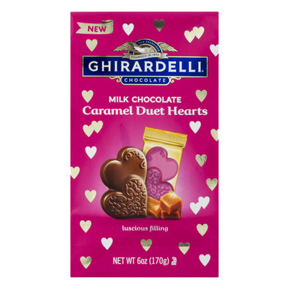 Ghirardelli Valentine's Day Milk Chocolate Caramel Duet Hearts Bag, 6oz