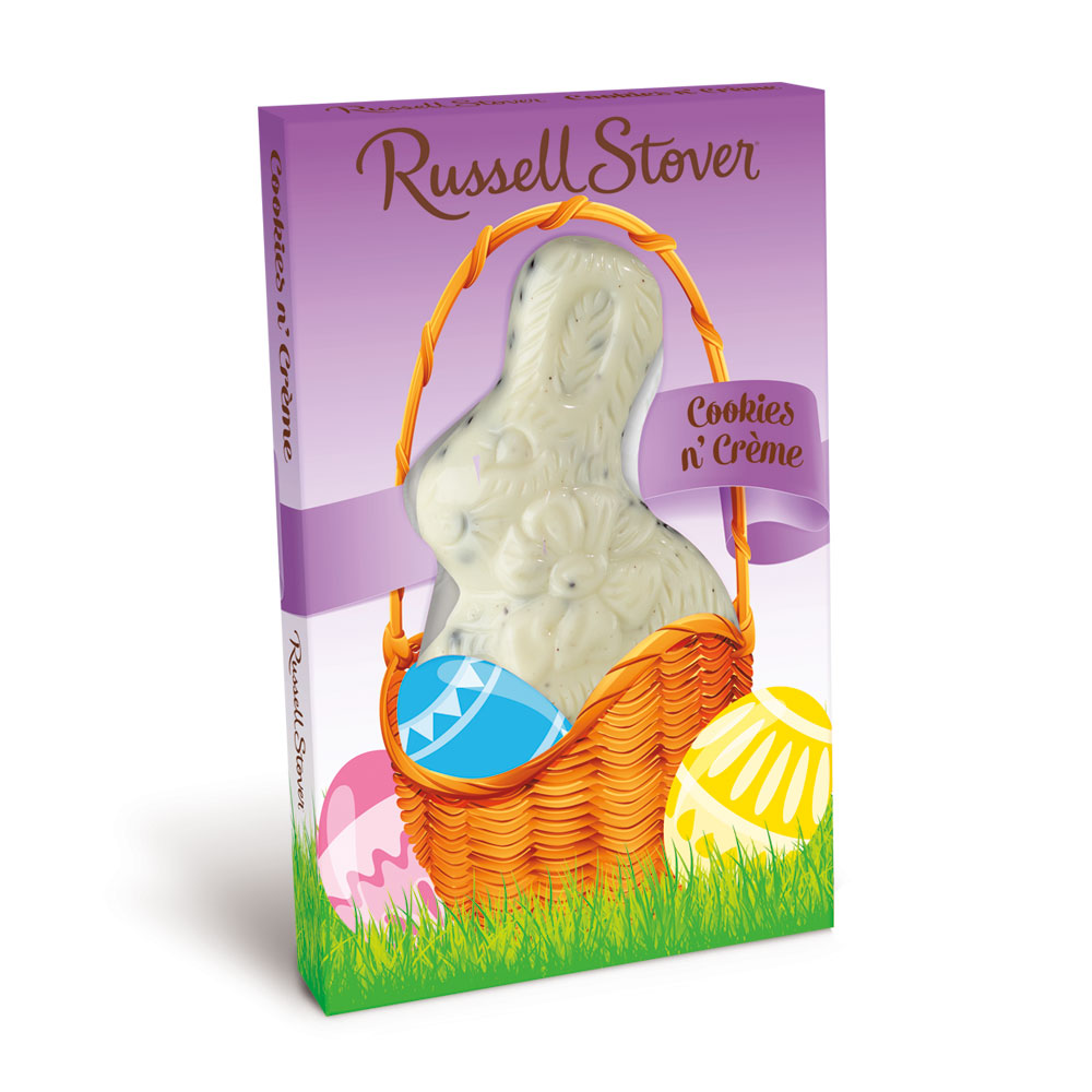 Russell Stover Cookies N Cream Flatback Rabbit, 3 oz