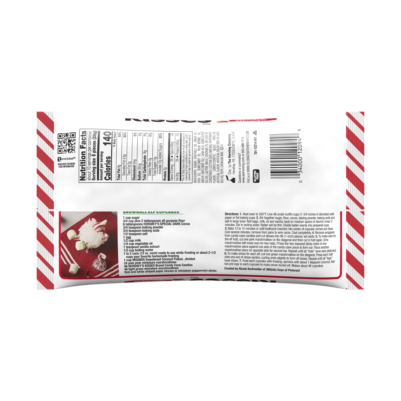 Hershey's Kisses, Holiday Candy Cane Mint Candies, 10 Oz