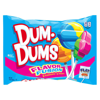 Dum-Dums Flat Shape Flavor Fusion Lollipops Bag, 14oz