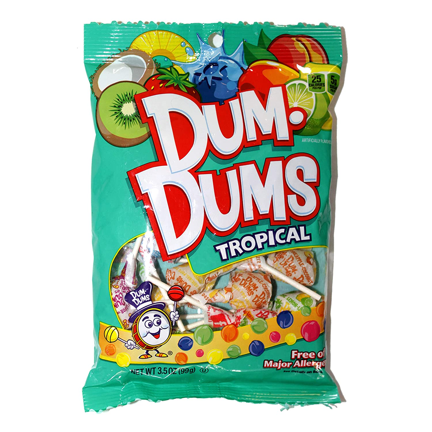 Dum Dums Lollipops, Tropical, 3.5oz