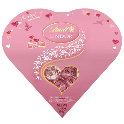 Lindt Lindor Valentine's Day Strawberries and Cream White Chocolate Truffles Heart, 3.4oz