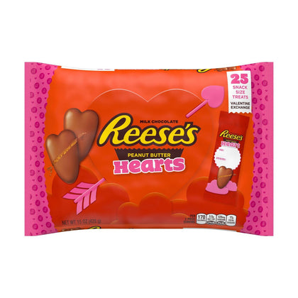 Reese's, Valentine Exchange Chocolate and Peanut Butter Hearts Candy, 25 Ct, 15oz
