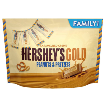 Hershey's Gold Caramelized Creme Peanuts & Pretzels, Family pack, 15.3oz