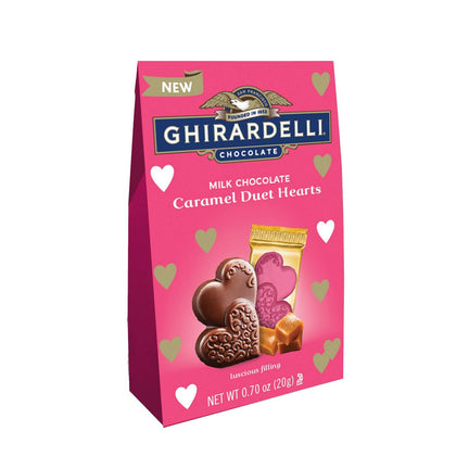 Ghirardelli Valentine's Day Milk Chocolate Caramel Duet Hearts Bag, 0.7oz