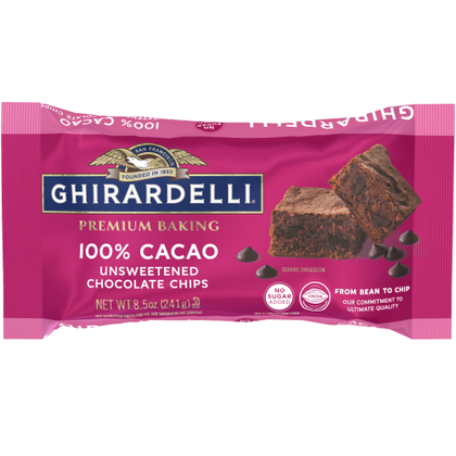 Ghirardelli 100% Cacao Unsweetened Chocolate Chips, 8.5oz