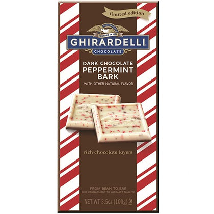 Ghirardelli Dark Chocolate Peppermint Bark Bar, 3.5oz