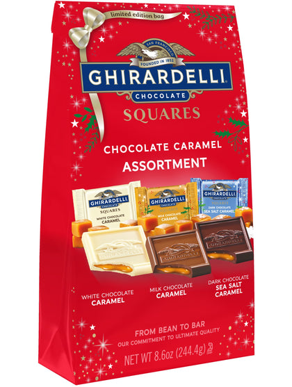 Ghirardelli Squares Chocolate Caramel Assortment Holiday Bag, 8.6oz