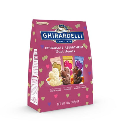 Ghirardelli Valentine's Chocolate Assortment Duet Hearts Bag, 14oz