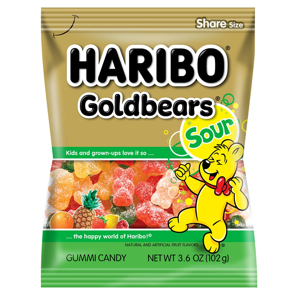 Haribo Goldbears Sour Gummi Candy, 3.6oz