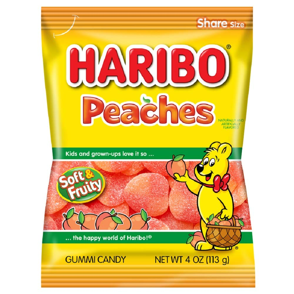 Haribo Peaches Soft & Fruity Candy, 4oz