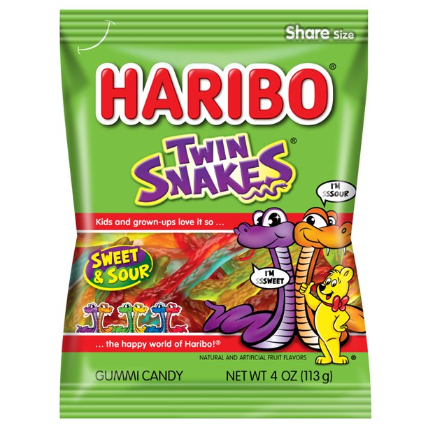 Haribo Twin Snakes Sweet & Sour Gummy Candy, 4oz