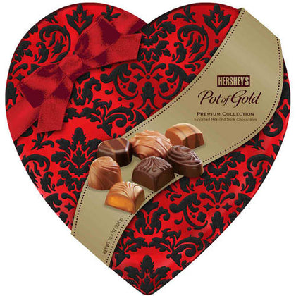 Hershey's, Pot of Gold Caramel Candies & Milk and Dark Chocolate in Heart Box 10.4 Oz