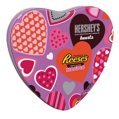 Hersheys' & Reese's Valentine's Day Milk Chocolate Hearts Tin , 7oz