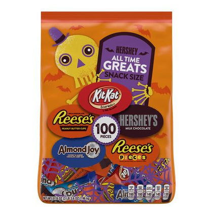 Hershey Halloween All Time Greats, Snack Size, 100 Pieces, 51.6oz