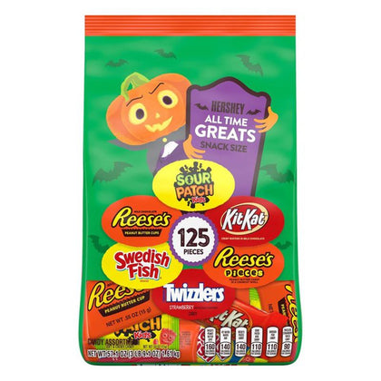 Hershey Halloween All Time Greats, Snack Size, 125 Pieces, 57.1oz