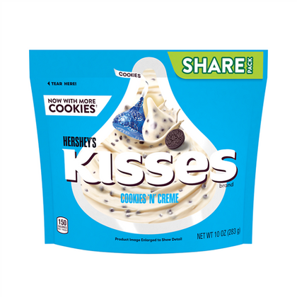 Hershey's Kisses Cookies 'N' Creme Candy, Share Pack, 10 oz
