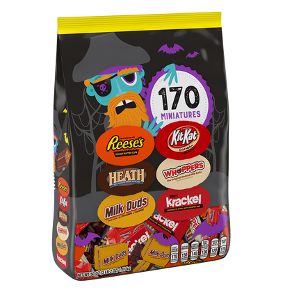 Hershey Miniatures Halloween Snack Size Assortment, 50 oz bag, 170 pieces
