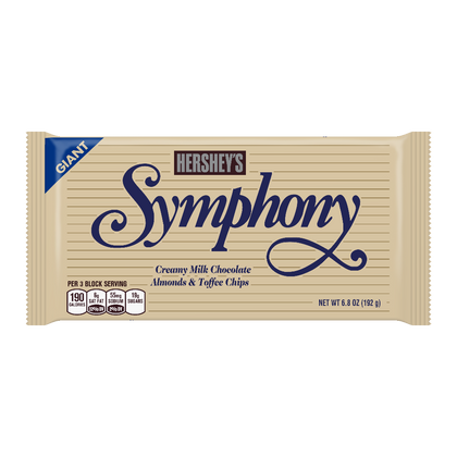 Hershey's Symphony Milk Chocolate with Almonds and Toffee Giant Candy Bar, 6.8oz