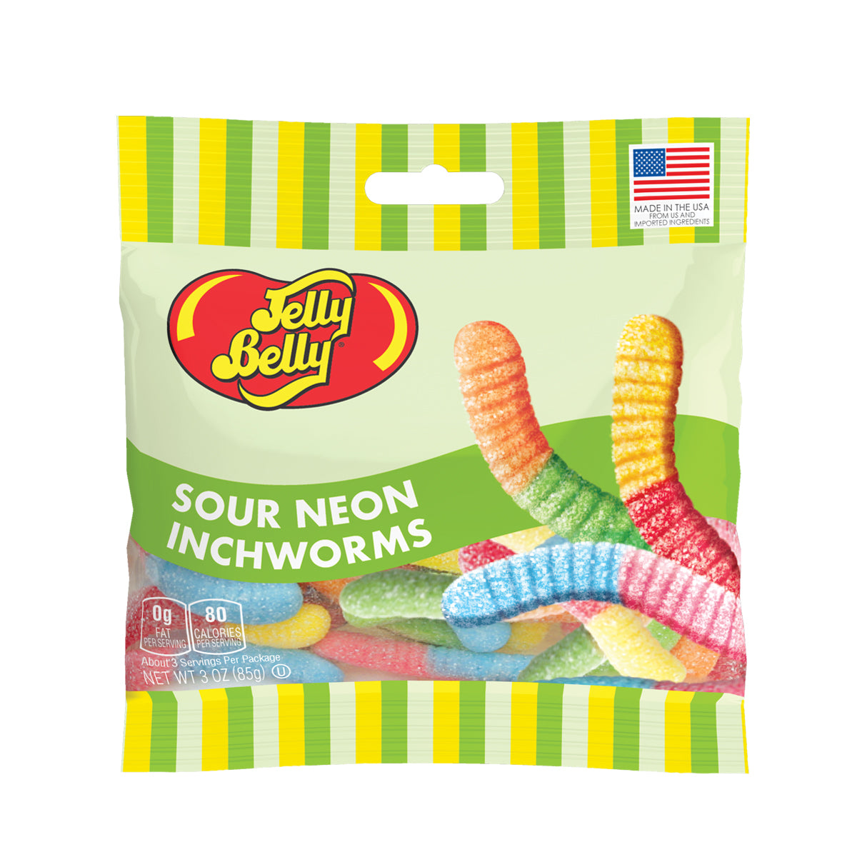 Jelly Belly Sour Neon Inchworms, 3oz