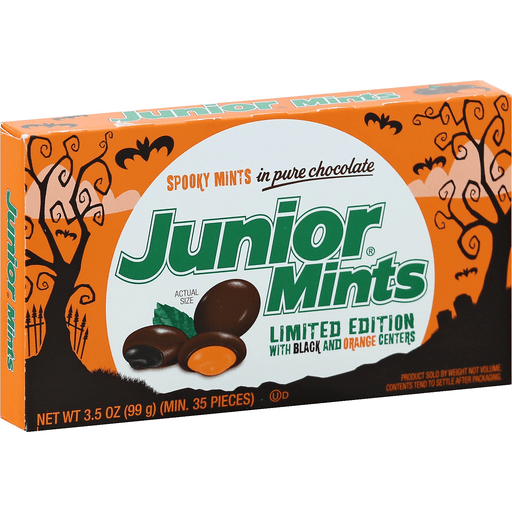 Junior Mints Spooky Halloween Mints with Black and Orange Centers, 3.5oz