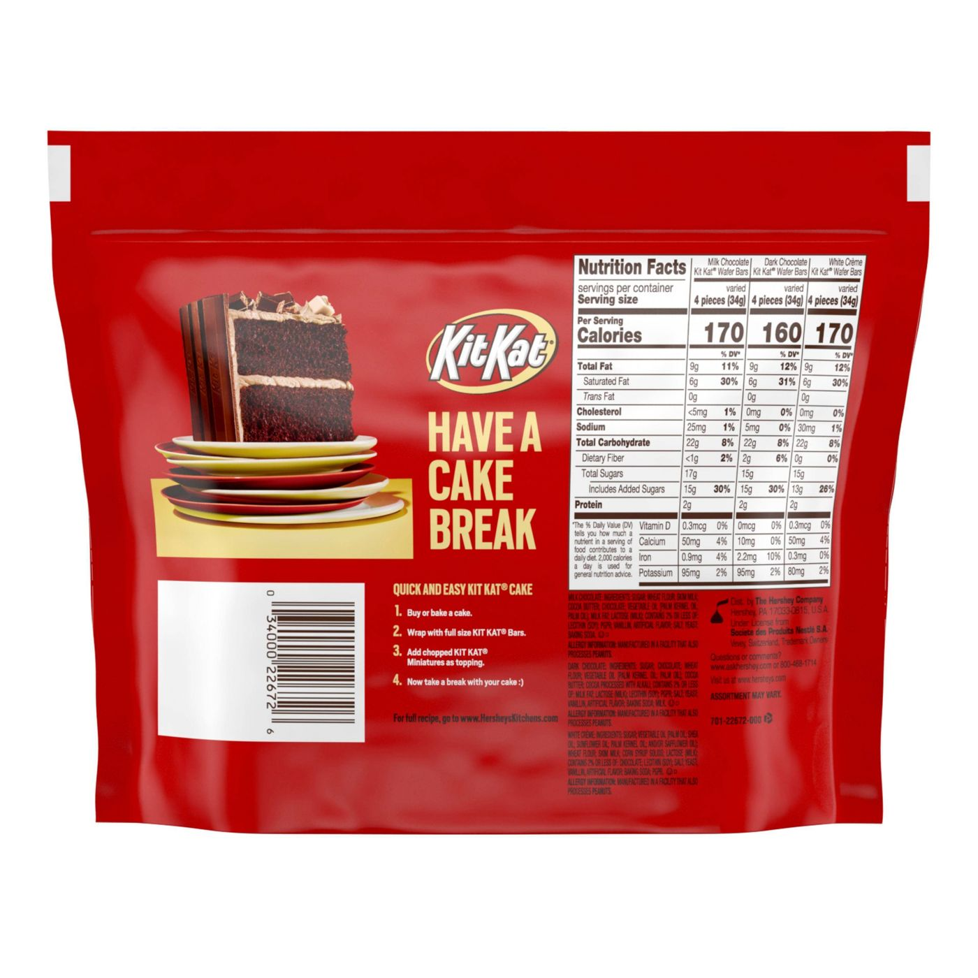 Kit Kat Assorted Miniatures Chocolate Candy, Share Pack, 10.1oz