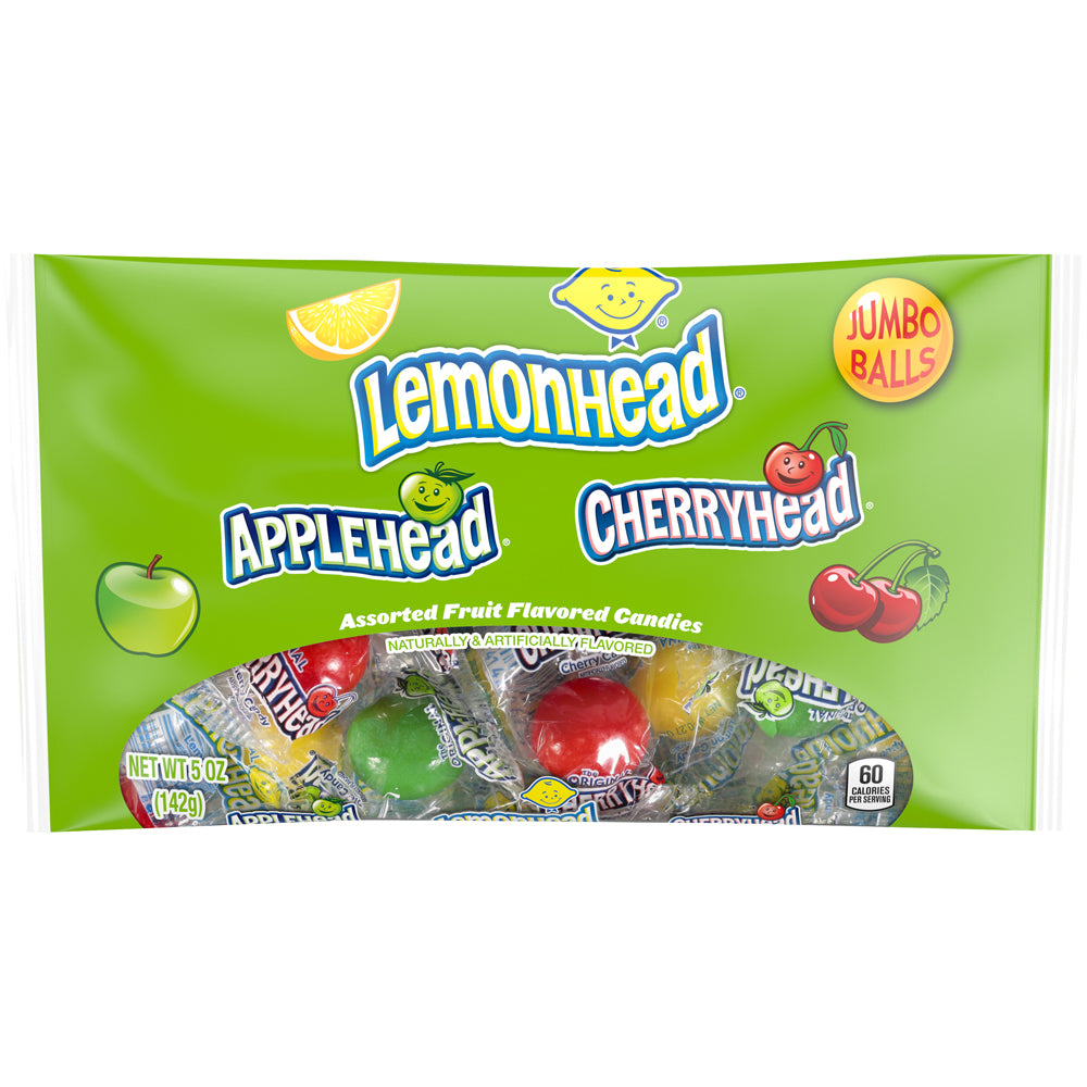 Lemonhead, Applehead, Cherryhead, Assorted Fruit Candies, 5oz
