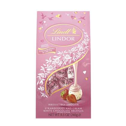 Lindt Lindor Strawberries & Cream White Chocolate Truffles, 8.5oz