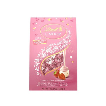 Lindt Lindor Valentine's Strawberries and Cream White Chocolate Truffles, 15.2oz
