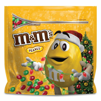 M&M's Christmas Holiday Peanut Chocolate Candy, Party Size, 38 Oz.