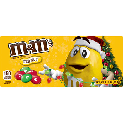 M&M's Christmas Holiday Peanut Chocolate Candy, Theater Box, 3.1oz