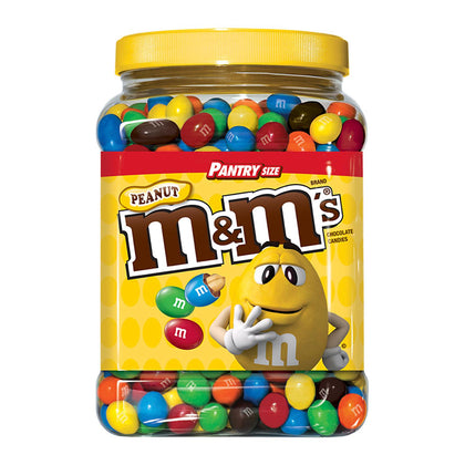 M&M's Peanut Chocolate Candy, Pantry Size Jar, 62oz