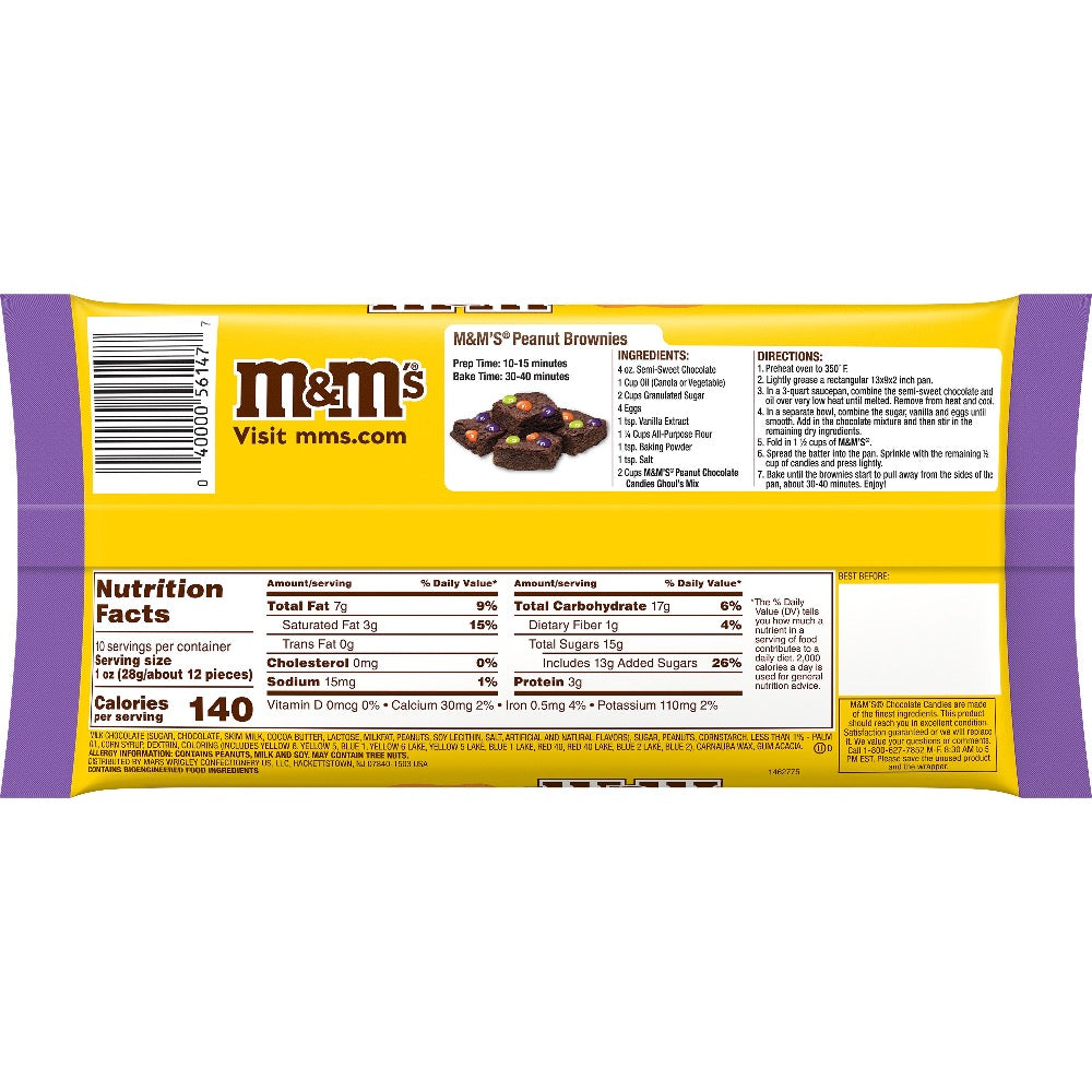 M&M'S Peanut Chocolate Candy, Halloween Ghoul's Mix, 10oz