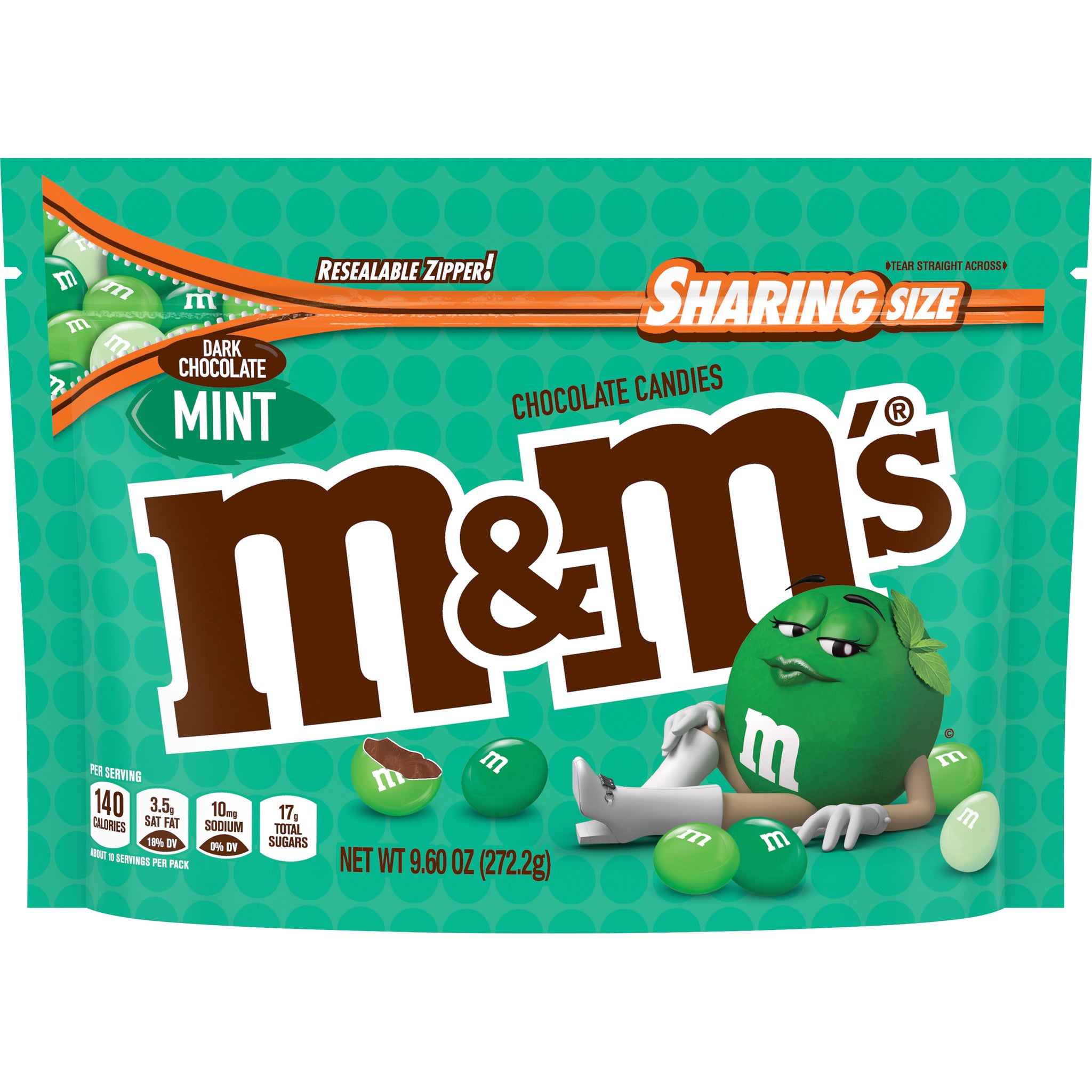 M&M'S Mint Dark Chocolate Candy, Sharing Size, 9.6oz
