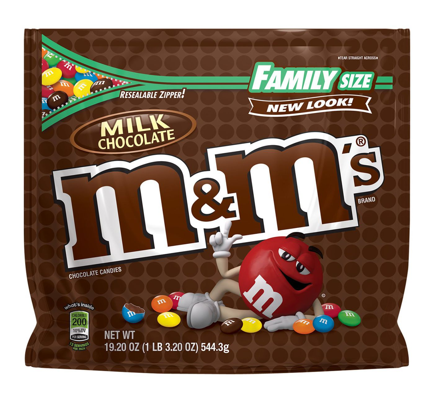 M&M's Milk Chocolate Candies, Family Size, 19.2oz
