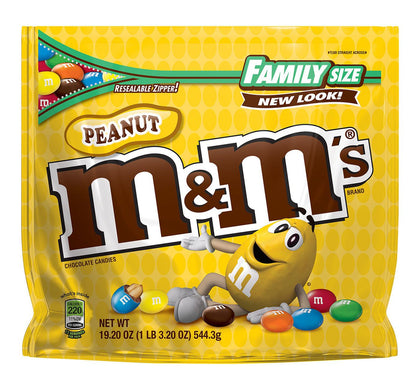 M&M's Peanut Chocolate Candies, Family Size, 19.2oz