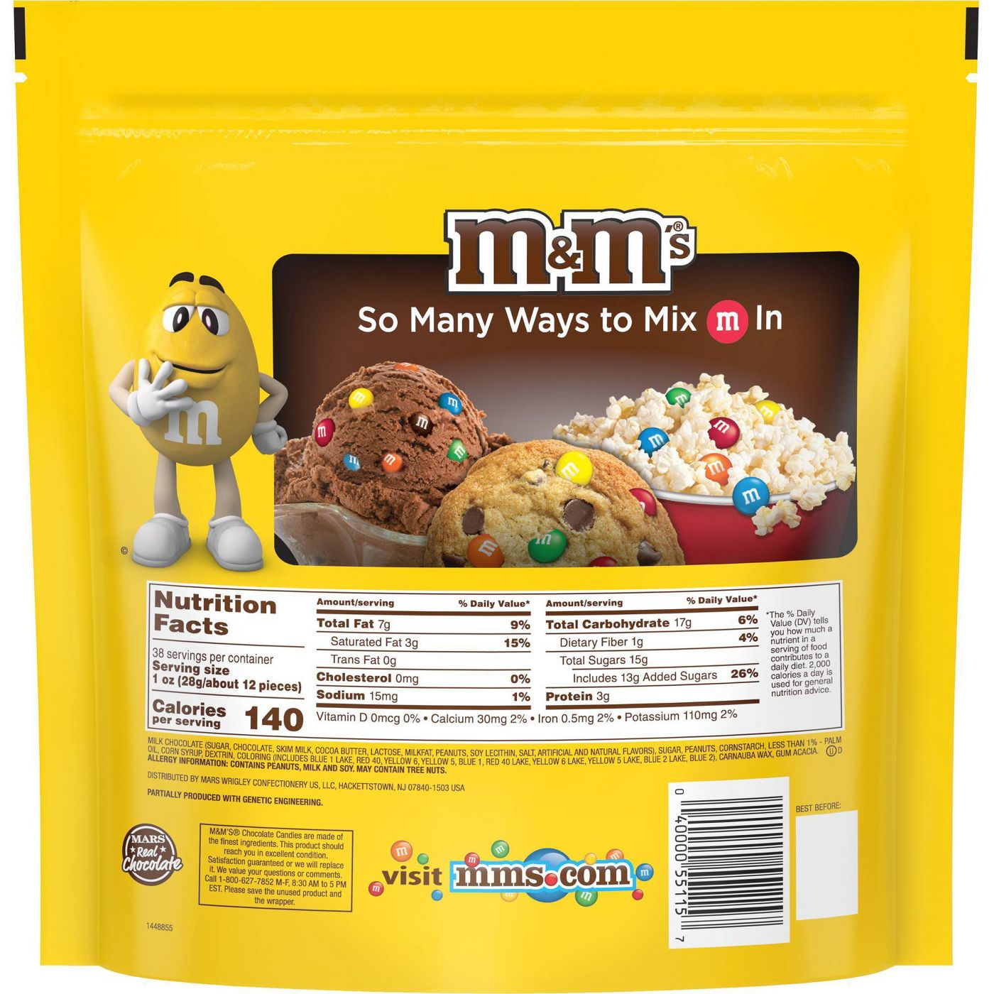 M&M's Peanut Chocolate Candies, Party Size, 38oz