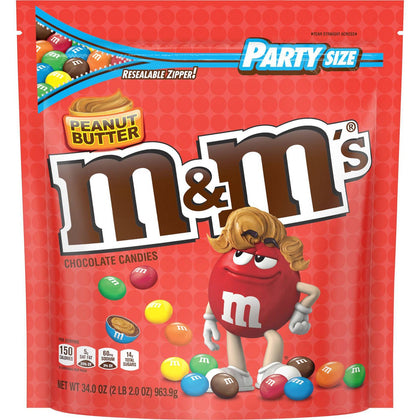 M&M's Peanut Butter Chocolate Candies, Party Size, 34oz