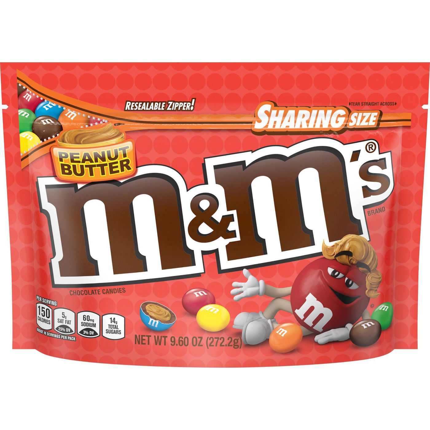 M&M's Peanut Butter Chocolate Candies, Sharing Size, 9.6oz