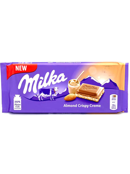 Milka Almond Crispy Creme Bar, 3.17oz (Product of Germany)