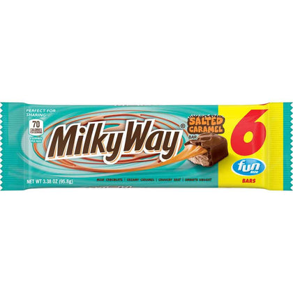 Milky Way Salted Caramel, Fun Size Bars, 6 Ct Pack, 3.38oz