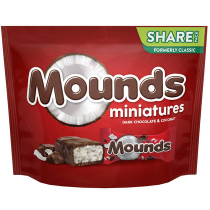 Mounds Dark Chocolate Miniature Candy Bars, 10.3oz