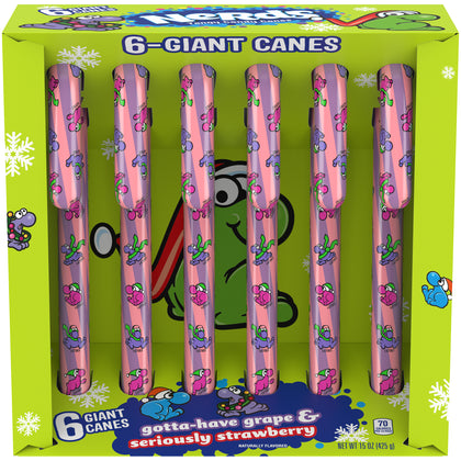 Nerds Giant Holiday Candy Canes, 15oz, 6ct