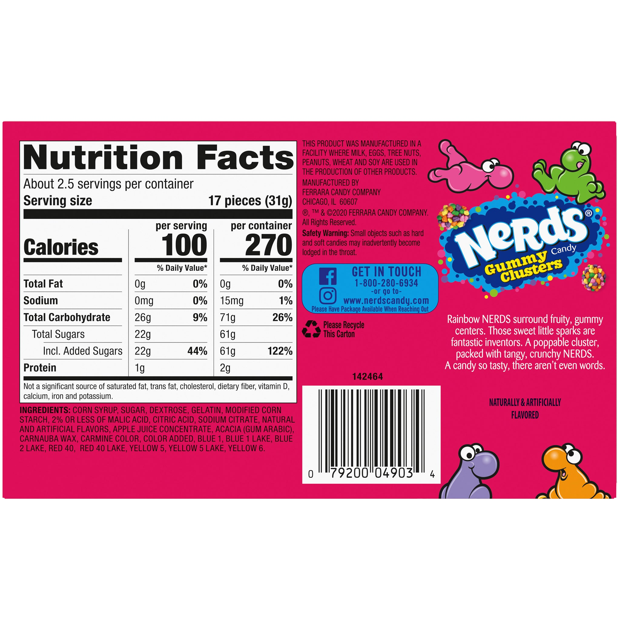 Nerds Gummy Clusters Candy, 3oz